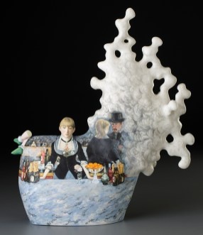 "Kadri Pärnamets, ""The Customer"" 2015, porcelain, slip, glaze, 19 x 14.5 x 6.5"". photo: John Polak"