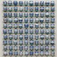 """Steven Young Lee, """"Blue Cup Panel"""" 2013, porcelain with cobalt inlay, 46 x 50 x 4"""". photo courtesy Greenwich House Pottery"""