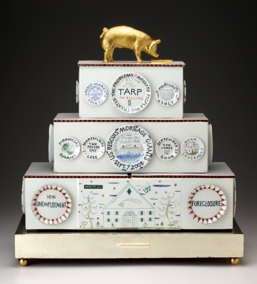 "Mara Superior, ""Piggy Bankers/The Great Recession of 2008"" 2009, porcelain, wood, white gold leaf, gold leaf, bone, brass balls, 24 x 23 x 9.5""."