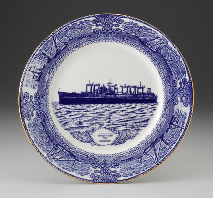 "Paul Scott, ""Cumbrian Blue(s) - The Hartlepool Ghost Ships"" 2013, in-glaze decal, gold lustre on bone china plate, 12"" diameter."