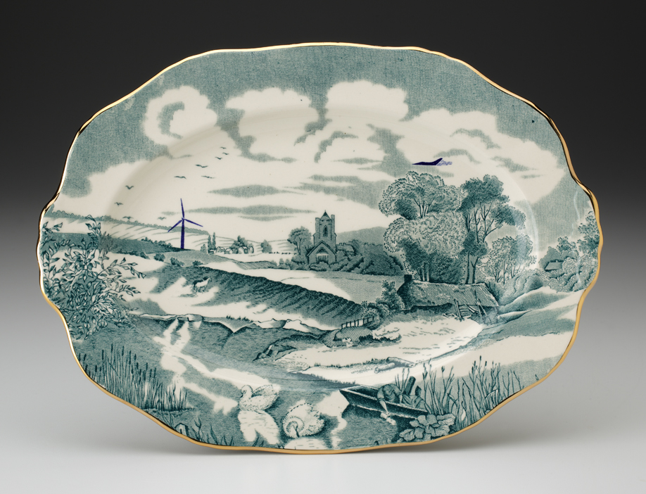 "Paul Scott, ""Cumbrian Blue(s) - Pastoral"" 2013, in-glaze decal, gold luster on partially erased Alfred Meakin earthenware platter (c.1935), 11"" diameter."