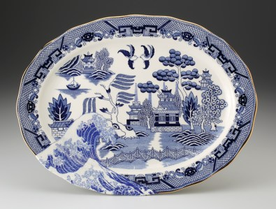 "Paul Scott, ""Scott's Cumbrian Blue(s), Fukashima"" 2013, Inglaze decal collage, gold luster on House of Blue Willow made in Japan plate c. 1820, 8.75 x 12 x 1""."