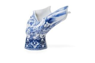 """Front Design, """"Blow Away Vase"""" 2008, Royal Delft porcelain, 11 x 12 x 9""""."""