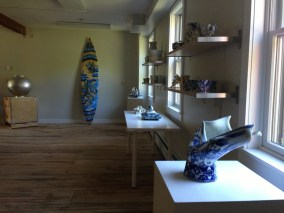 Ceramic works by Stephen Bowers, Sergei Isupov, Joon Park, and other artists installed at Project Art in Cummington, Massachusetts