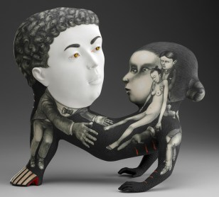 "Sergei Isupov, ""Belief and Hope"" 2013, porcelain, slip, glaze, 18 x 20 x 9.5""."