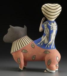 """Sergei Isupov, """"Life's Work"""" 2011, porcelain, slip, glaze, 16.875 x 14.75 x 5.5""""."""
