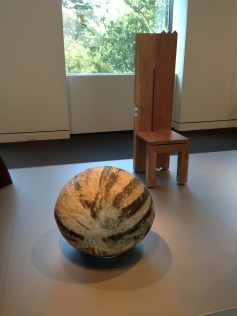 Front - Toshiko Takaezu,3/4 Moon, 1985, Glazed Stoneware, Gift of Mary Louise Myers Wendy Maruyama, Post Nuclear Primitive Chair, 1986, Gift of Duncan W. Cowdy MFA Boston