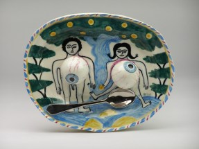 """Stephen Bird, """"Adam and Eve with Eyes and Spoon"""" 2013, earthenware, pigment, glaze, 7.25 x 9 x 2"""". Courtesy Garis and Hahn Gallery."""