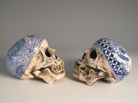"Stephen Bowers, ""Explorers' Skulls"" 2010, ceramic, underglaze, stains, 5.25""."