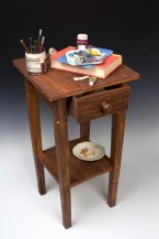 """Richard Shaw, """"Still Life with Open Drawer"""" 2013, porcelain, decals, 33 x 13.5 x 14""""."""