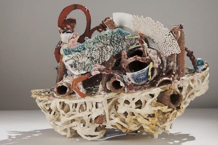 "Linda Sormin, ""List"", 2013, ceramic, found materials, 16 x 23 x 15""."