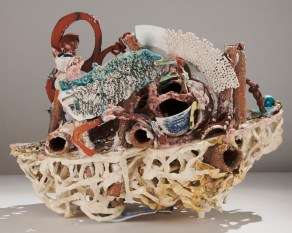 "Linda Sormin, ""List"" 2013, ceramic, found materials, 16 x 23 x 15""."