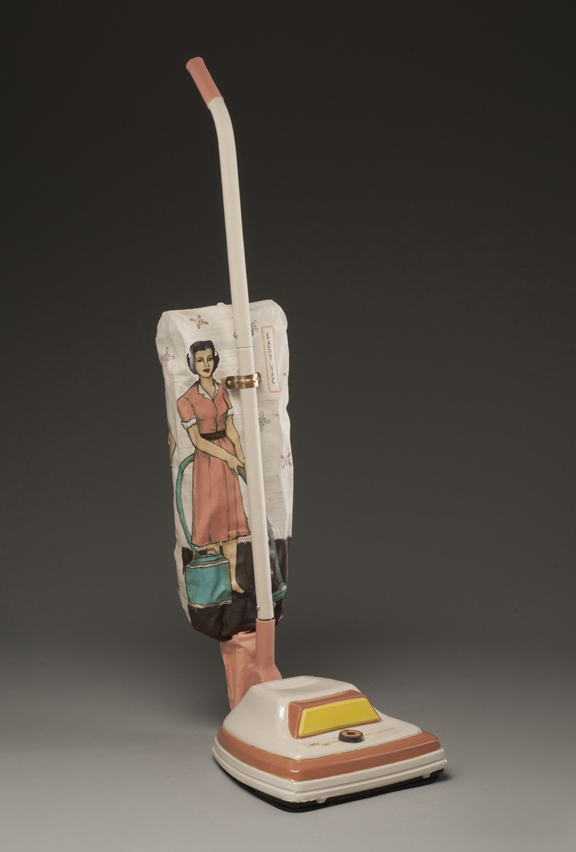 "Shalene Valenzuela, ""Easy Vac: Always in Fashion"" 2011, porcelain, underglaze, print transfer, 42 x 11x 14""."