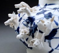 "Coille Hooven Porcelain - detail of ""Hookah Animals"" 1975, porcelain, 10.375 x 9 x 11.75""."