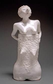 "Coille Hooven, ""Second Skin"" 1986, stoneware, 14.75 x 6.5 x 5.5""."
