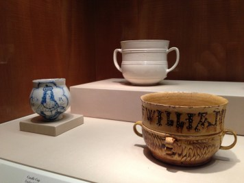 """Possets and Caudle Cups in the Burnap Collection at Nelson Atkins Museum, the Caudle cup rear was the subject of Clare Twomey's """"Forever"""" project. Her film """"Is it Madness..."""" is in CT40."""