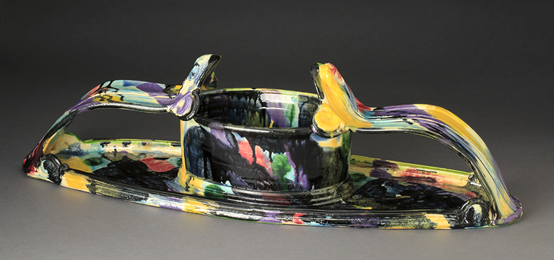 "Betty Woodman, ""Planter"" ceramic, glaze, 27 x 5.5 x 8.5""."