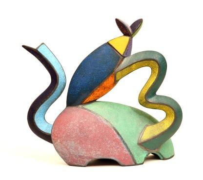 """Michael Sherrill, """"Tilted Tea"""" 1995, 16 x 16 x 6""""."""