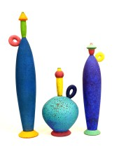 "Michael Sherrill, ""Bottle Set"" 27 x 6 x 5"", 15.5 x 9.5 x 9.5"", 20 x 4.5 x 4""."