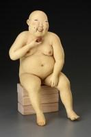 "Esther Shimazu, ""Red Summer Tea Bowl"" 1997, stoneware, 15.5 x 9 x 10""."