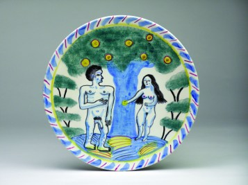 "Stephen Bird, ""Adam and Eve"", 2012, clay, pigment, glaze, 10.5 x 10.5"""