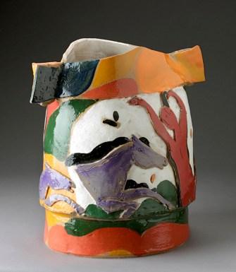 """Rudy Autio, """"Hippodrome"""" 1994, glaze, ceramic, 19 x 16 x 14""""."""