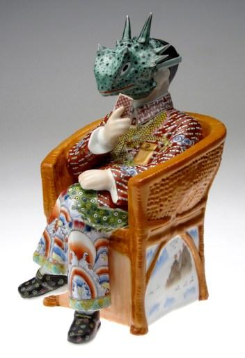 """Future Retrieval: Katie Parker & Guy Michael, """"Hold 'Em"""" 2012, porcelain underglaze transfer, china paint, 12 x 8 x 8.5""""."""