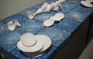 "Giselle Hicks, ""Pattern Language"" (detail), 2010, porcelain, terra sigillata, wood, graphite, 36 x 24 x 114""."