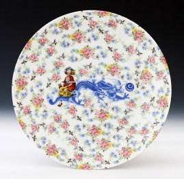 "Howard Kottler, ""Calico Chinoisere"" c. 1967, porcelain, decals, glaze, 10""."