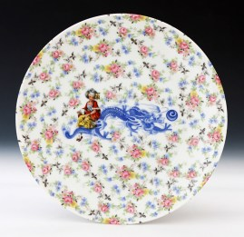 "Howard Kottler, ""Calico Chinoisere"" c. 1967, porcelain, decals, glaze, 10""."