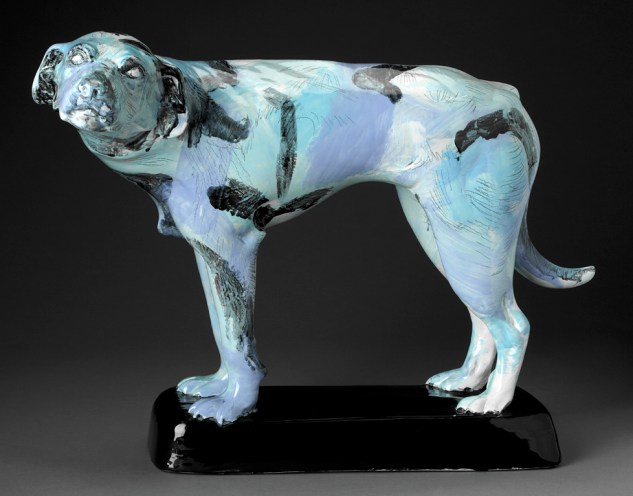 "Jack Earl, ""CEL 001 Ohio Dog"" 1976, vitreous china, 20 x 26 x 14.5""."