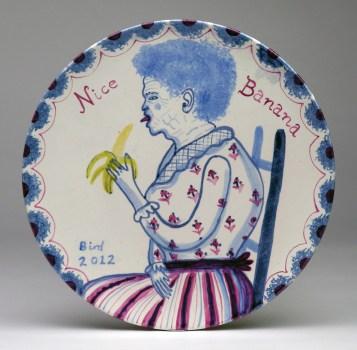 "Stephen Bird, ""Nice Banana"" 2012, clay, pigment, glaze, 10.6""."