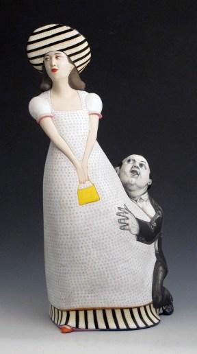 "Sergei Isupov, ""Velvet"" 2013, porcelain, glaze, stain, 15.75 x 8 x 6""."