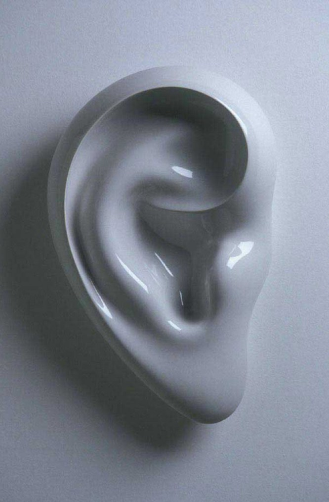"""Sergei Isupov, """"To Listen with Half and Ear"""" (edition of 6), 2003, vitreous china, 6 x 23 x 16""""."""