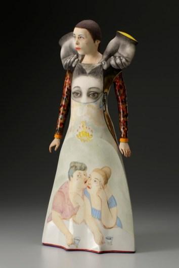 "Sergei Isupov, ""Wordless"" 2014, porcelain, slip, glaze, 20.5 x 20 x 6.5""."