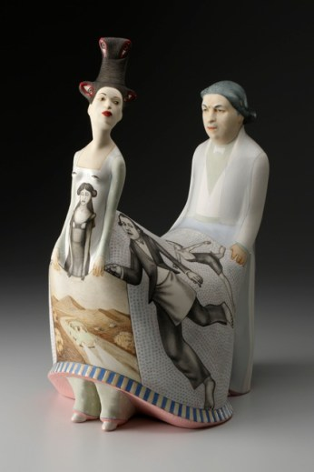 "Sergei Isupov, ""Elusive"" 2014, porcelain, slip, glaze, 18.5 x 13 x 9.5""."