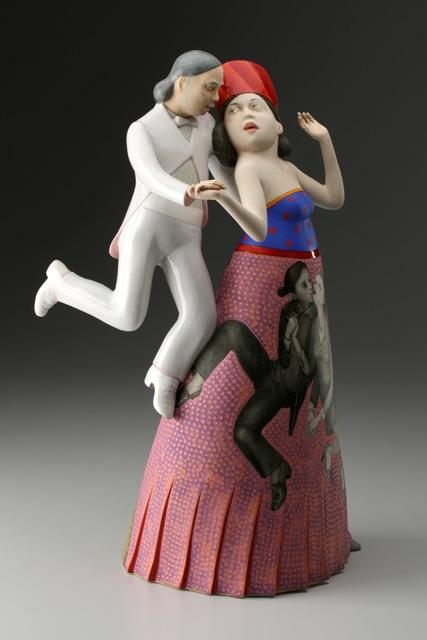 """Sergei Isupov, """"Make Believe"""" 2014, porcelain, slip, glaze, 18.5 x 12 x 8""""."""
