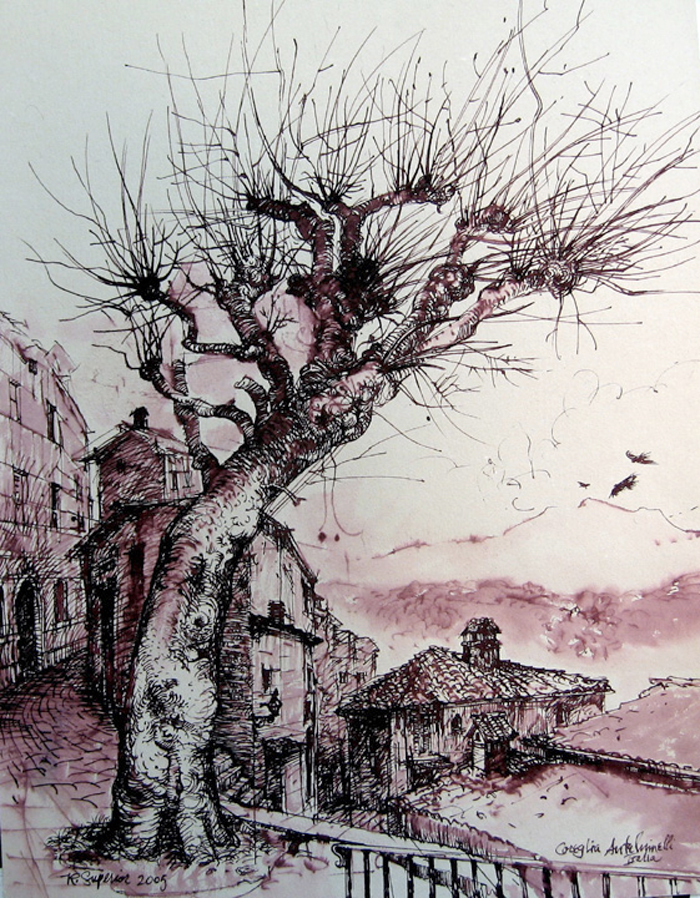 "Roy Superior, ""Coreglia Anteluinelli, Toscana, italia"" 2005, pen & ink, 20 x 16.5"". (Collection of the Artist)"