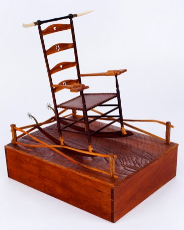 "Roy Superior, ""Texas Shaker Rocker"" 1984, wood, metal, bone, leather, 16 x 13.5 x 10.5"". (Allan Stone Collection)"