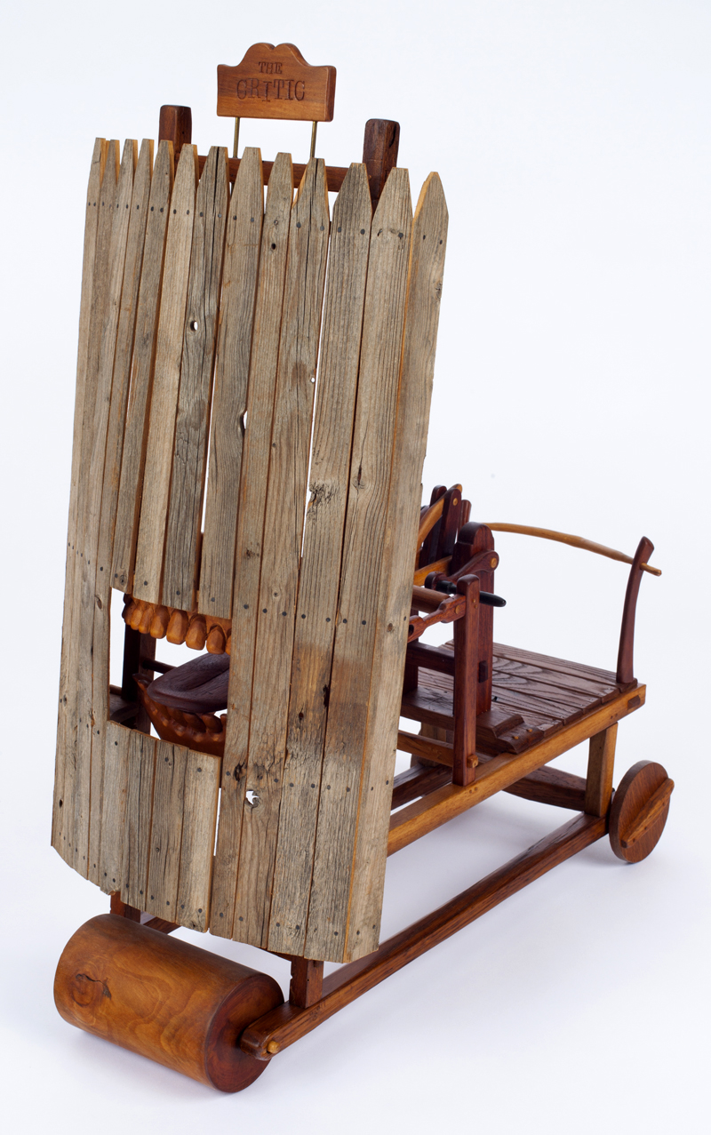 """Roy Superior, """"The Critic"""" 1983, wood, metal, 21.5 x 9 x 18"""". (Allan Stone Collection)"""