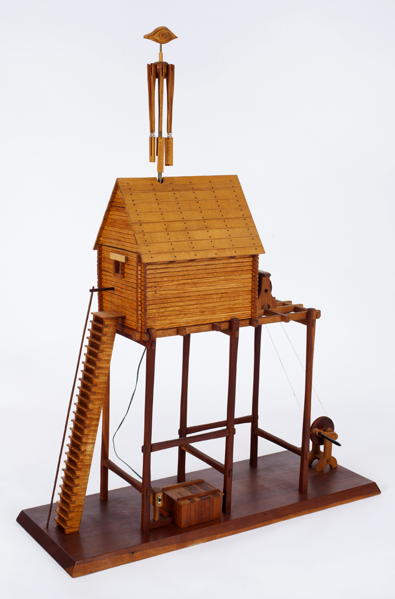 """Roy Superior, """"The Oracle"""" 19843, wood, metal string, motor, 34 x 25.5 x 9.625"""". (Allan Stone Collection)"""