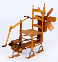 """Roy Superior, """"Shaker Snowmobile"""" 1984, metal, wood, caning, 11 x 7 x 13"""". (Allan Stone Collection)"""