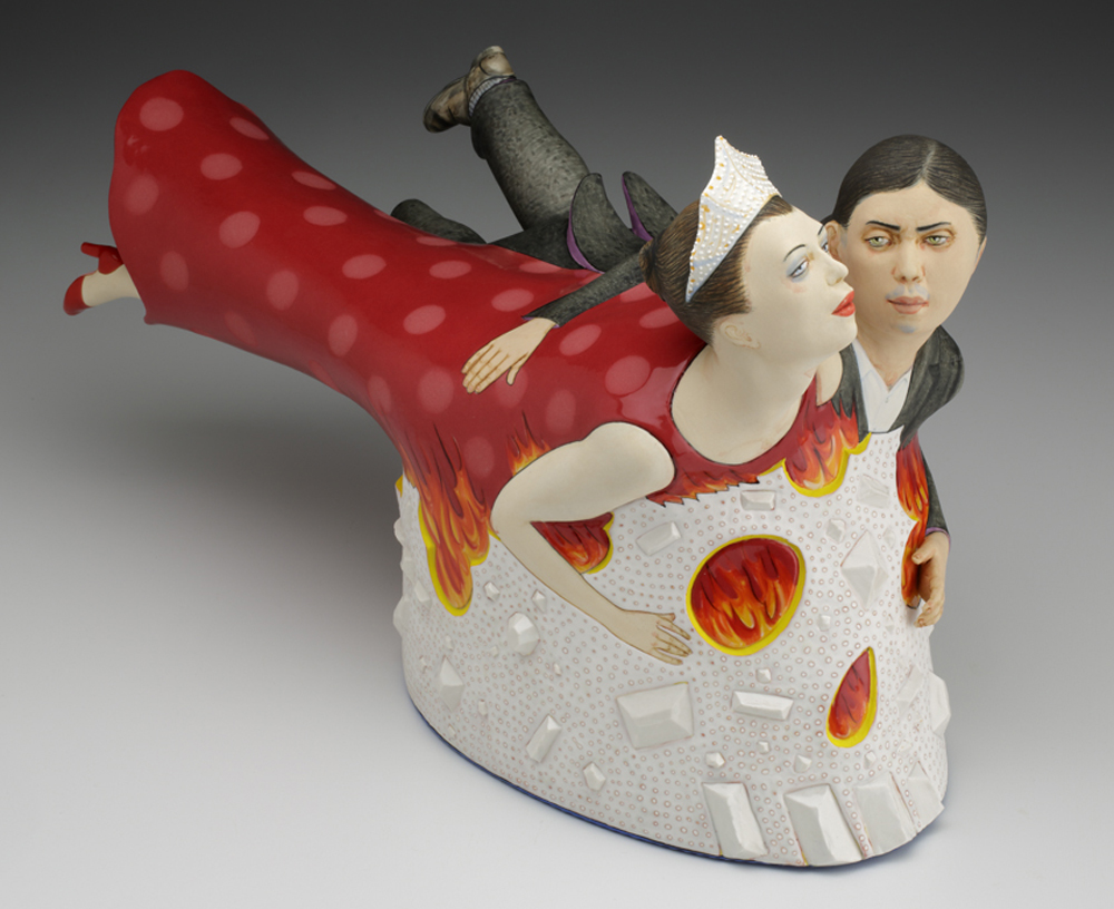 """Sergei Isupov, """"Flying in a Dream and in Reality"""" 2014, porcelain, slip, glaze, 12 x 16.5 x 11""""."""