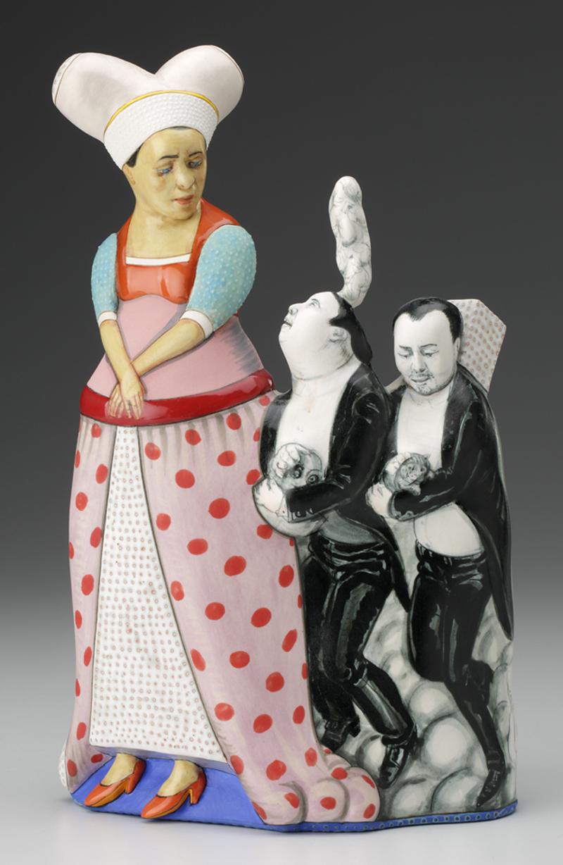 "Sergei Isupov, ""Offering"" 2014, porcelain, slip, glaze, 11 x 7 x 4""."