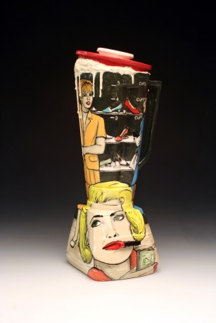 "Shalene Valenzuela, ""Blending In: Over the Top II"" 2014, ceramic, 14 x 6 x 5""."