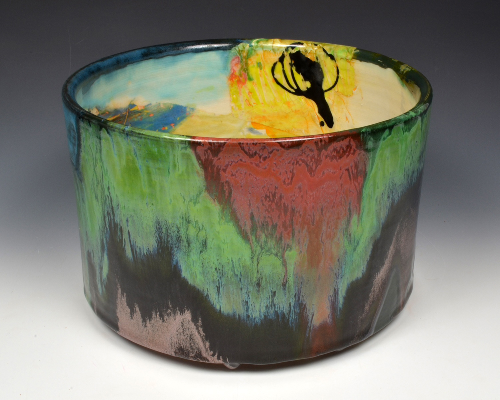 "Lauren Mabry, ""Cylinder"" 2013, red earthenware, slip, glaze, 6 x 8 x 8""."