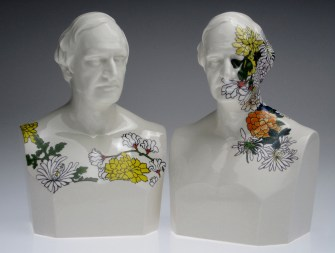 "Future Retrival, ""Alphonso Taft (Still Life) 1 and 2, 2011, porcelain, 12""."