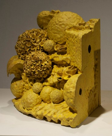 """Walter McConnell, """"Artifact Curry Yellow"""" 2012, ceramic, glaze, 18 x 24 x 15""""."""