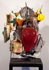 """Raymon Elozua, """"R&D II Re-16-1"""" 2014, ceramic, glaze, steel, glass, 33 x 29 x 46""""."""