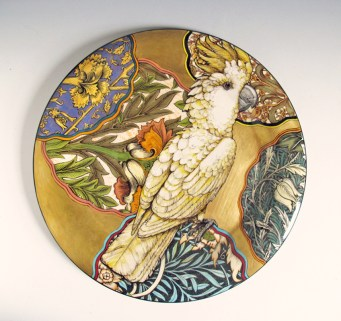 "Stephen Bowers, ""Cockatiel Nymphicus hollandicus"" camouflage plate, 2014, earthenware, underglaze, clear glaze, on-glaze gold lustre, enamel, 12.2""."